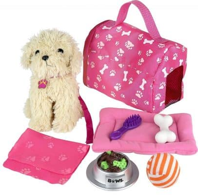 Click n' Play 9 Piece Doll Puppy Set
