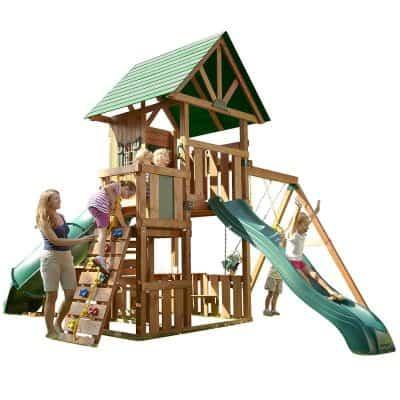 Southampton Wood Complete Ready- to- Assemble Swing Set Kit