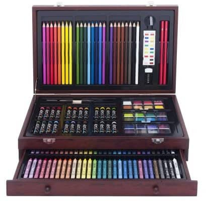 Painting and More in a Co Darice 80-Piece Deluxe Art Set Supplies for Drawing