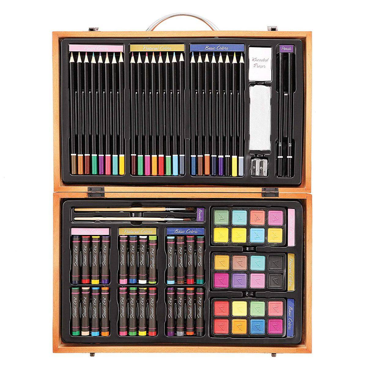 Wooden Art Set For Kids Professional Drawing Supplies Lot Colored Kit 142-Piece