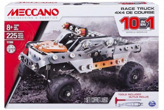Meccano Erector, 10 in 1 Model Race Truck Building Set, 225 pieces
