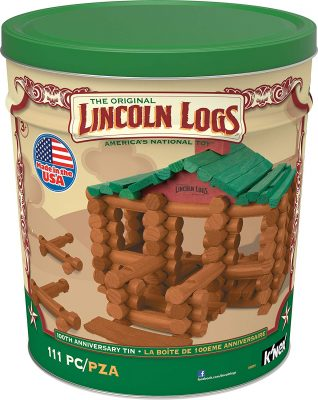 LINCOLN LOGS- 100th Anniversary Tin -111 All- wood Pieces