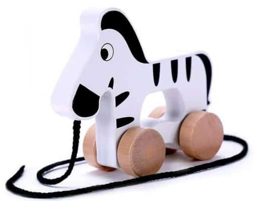Cubbie Lee Adorable Zebra Wooden Push & Pull Along Toy for Baby & Toddler