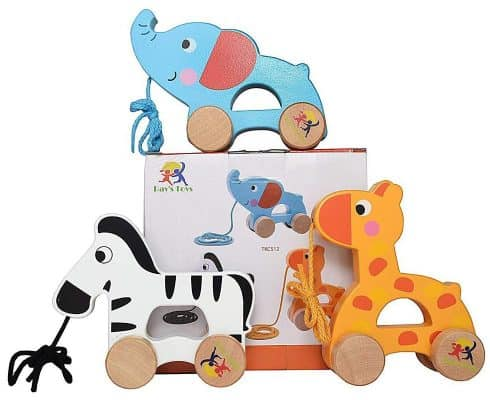 Wooden Pull Along Toy Set of 3- Beautiful Giraffe, Elephant & Zebra
