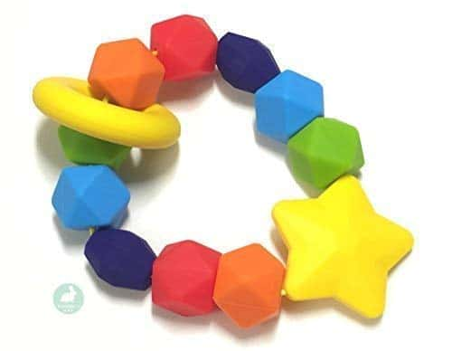 Baby Teether BPA-Free Silicone Teething Ring & Sensory Chew Toy to Soothe
