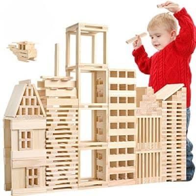 Loobani 100 Pcs Kids Toddlers Building Blocks Wooden Toys Set