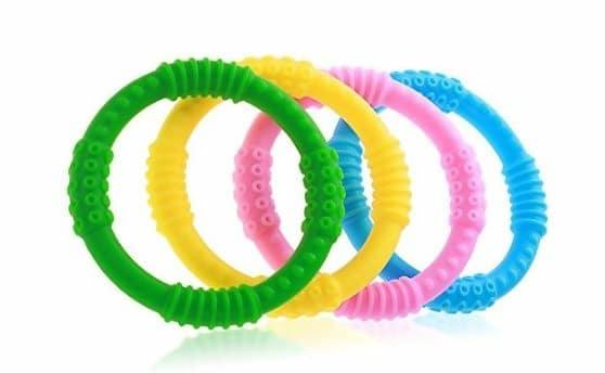 Teether Rings 4 Pack Silicone Sensory Teething Rings