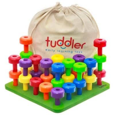 Tuddler Brightly Colored Stackable Pegs and Peg Board Set