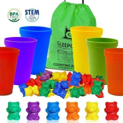 Gleeporte Colorful Counting Bears with Coordinated Sorting Cups