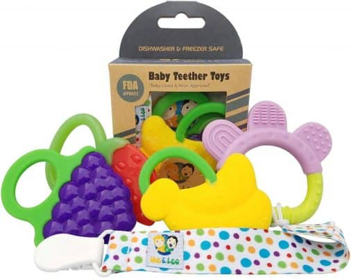 Ike & Leo Teething Toys Pacifier Clip/ Teether Holder