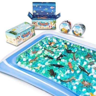 MONILON Water Beads, 24 Pcs Ocean Sea Animals, Inflatable Water Mat