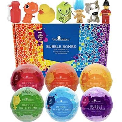 Two Sisters 6 Kids Bubble Bath Bombs for Girls and Boys with Fun Surprise Toys