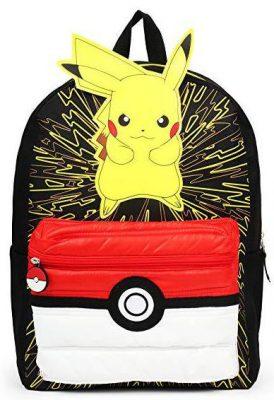 Pokemon 3D Pikachu with Puff'd Pokeball Pocket Backpack School Bag