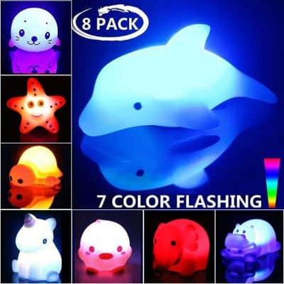 Geolinca Bath Toys 7 Color Flashing Bathtub Water Toys