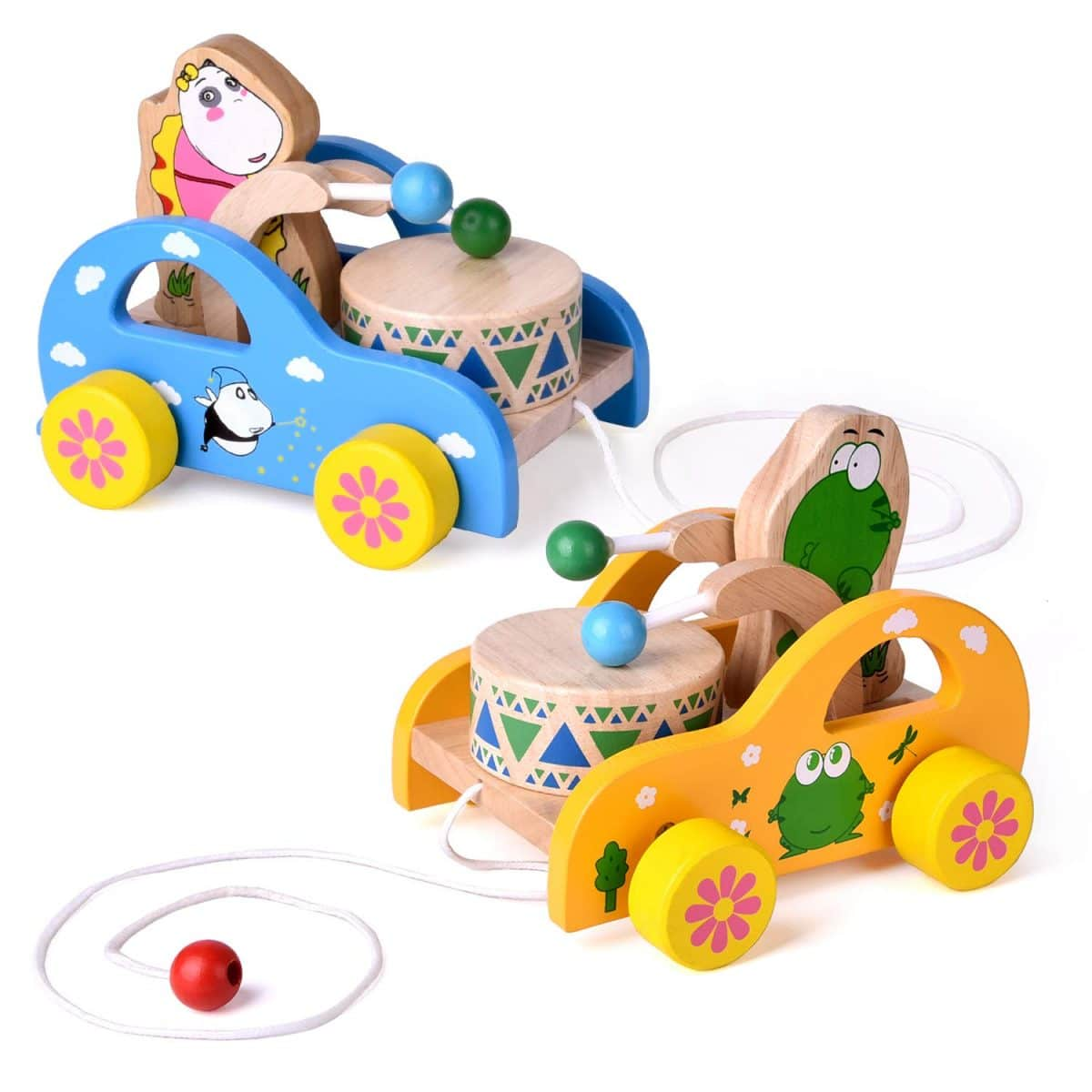 Wooden Animal Pull Along Toy Walking Car Babies Toddlers Children Learning Toy Q