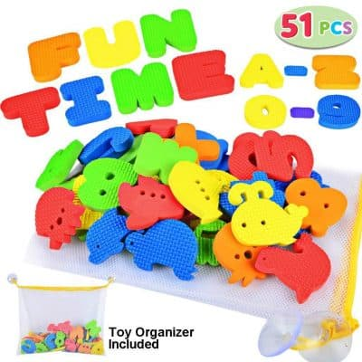Joyin Toy 51 Pieces Educational Bath Letters, Numbers, Sealifes and Transportations