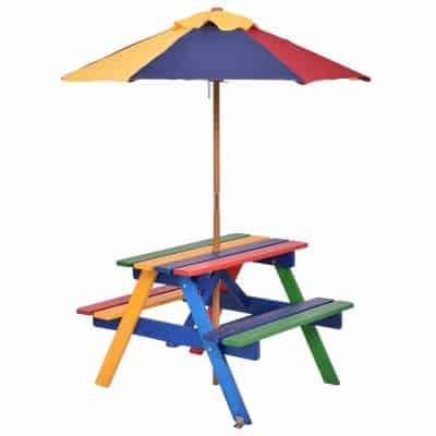 Costzon Kids Picnic Table Junior Rainbow