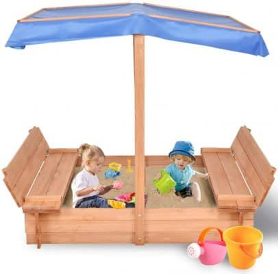 Costzon Kids Foldable Wooden Sandbox with Canopy