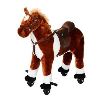 Qaba Kids Plush Ride on Toy Horse