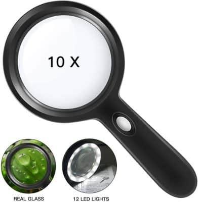 10X LED Handheld Magnifying Glass
