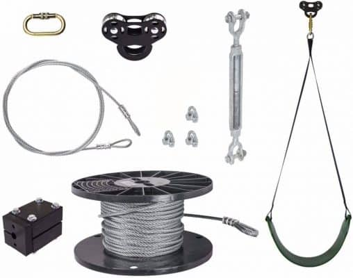 50' Black Raptor Zip Line Kit