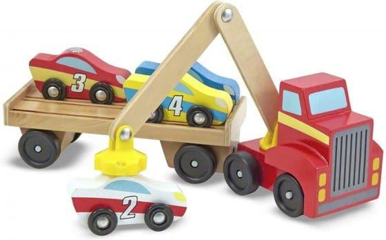 Melissa & Doug Magnetic Car Loader Wooden Toy Set