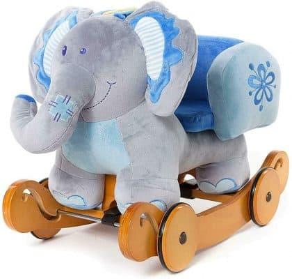 labebe Wooden Baby Elephant Rocker