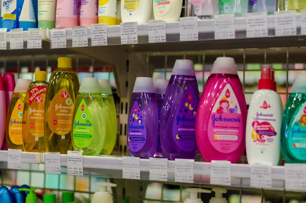 Baby cleaning products on a shelf