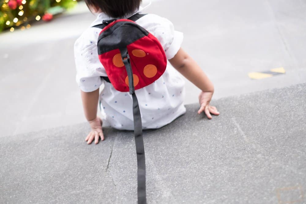 Child sitting down with a ladybug child leash backpack