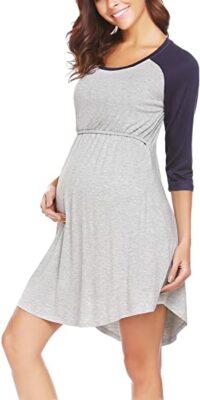 Ekouaer Women's Maternity Dress Nursing Nightgown