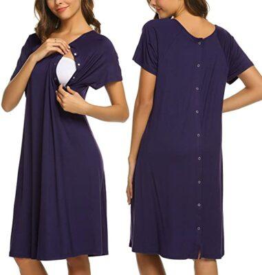 Ekouaer Women's Nursing/Delivery/Labor/Hospital Nightdress
