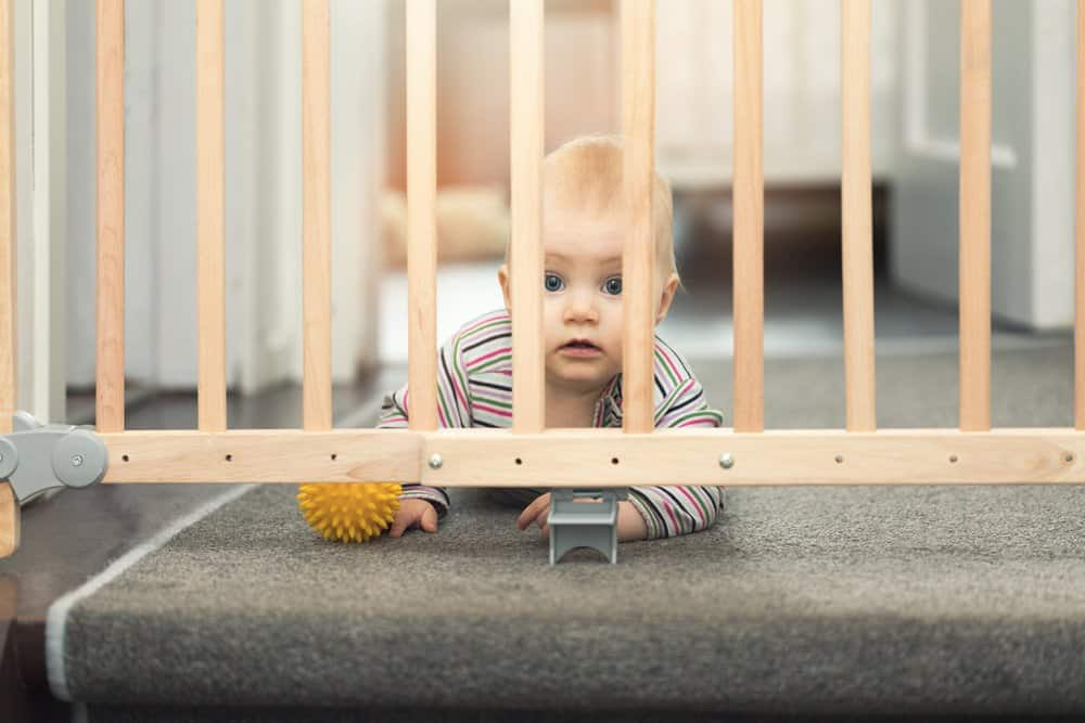 baby playing behind baby gate