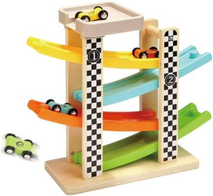 Top Bright Wooden Race Track and Ramp with Four Mini Cars