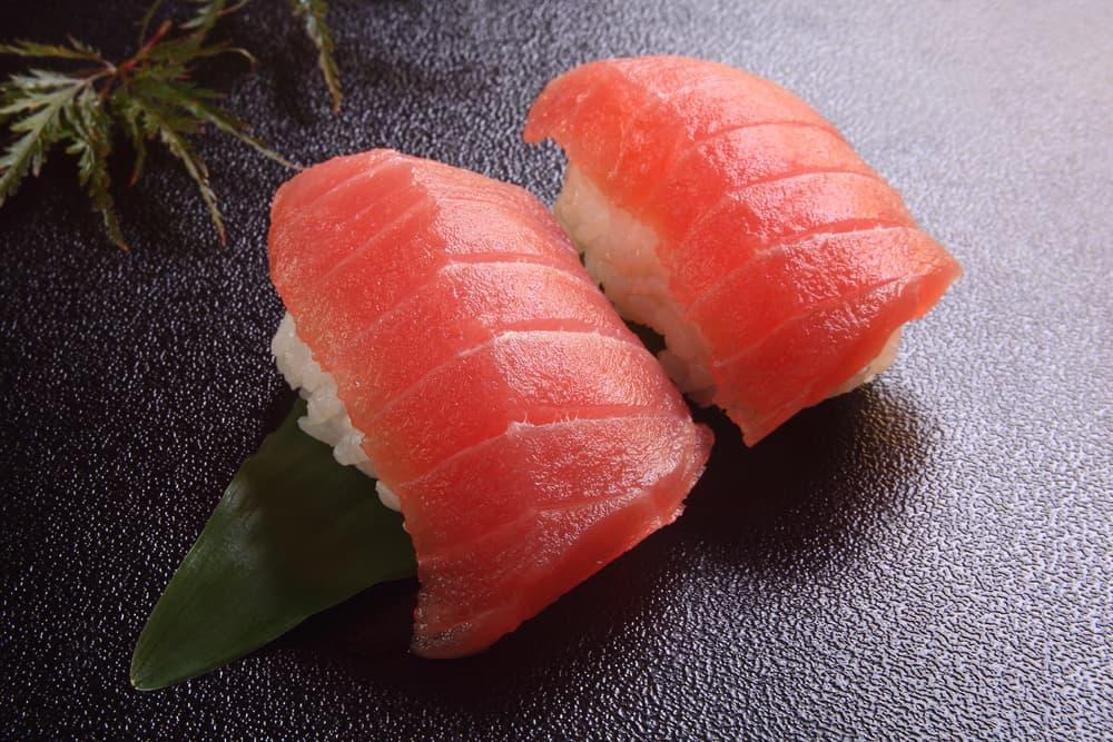 two pieces of tuna sushi nigiri