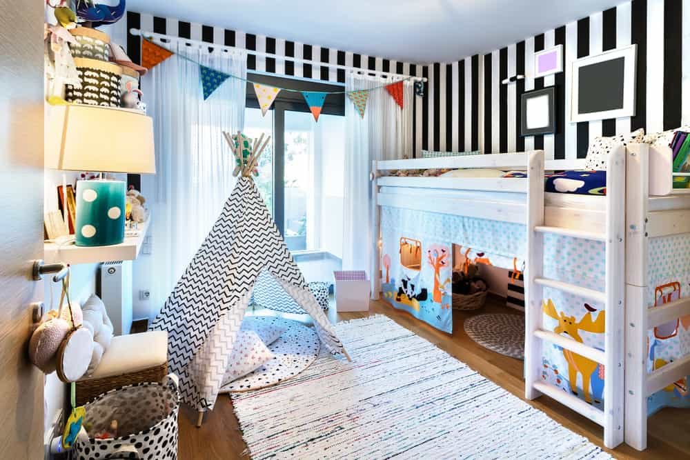 wooden play bunk bed with teepee