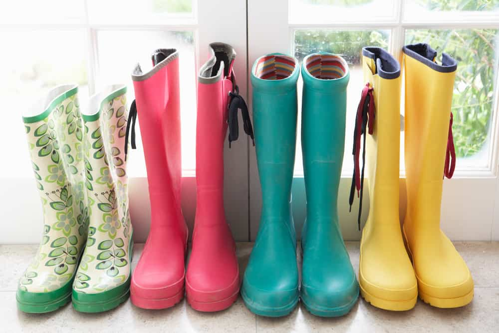 brightly colored rain boots