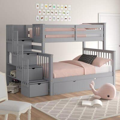 Harriet Bee Tena Bunk Bed with Storage and Trundle