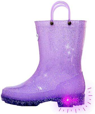 Outee Kids Glitter Light Up Rain Boots