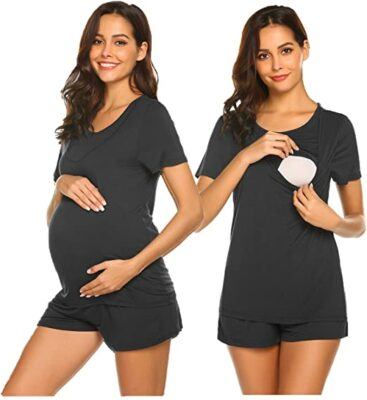 Ekouaer Labor/Nursing/Maternity Pajamas Set