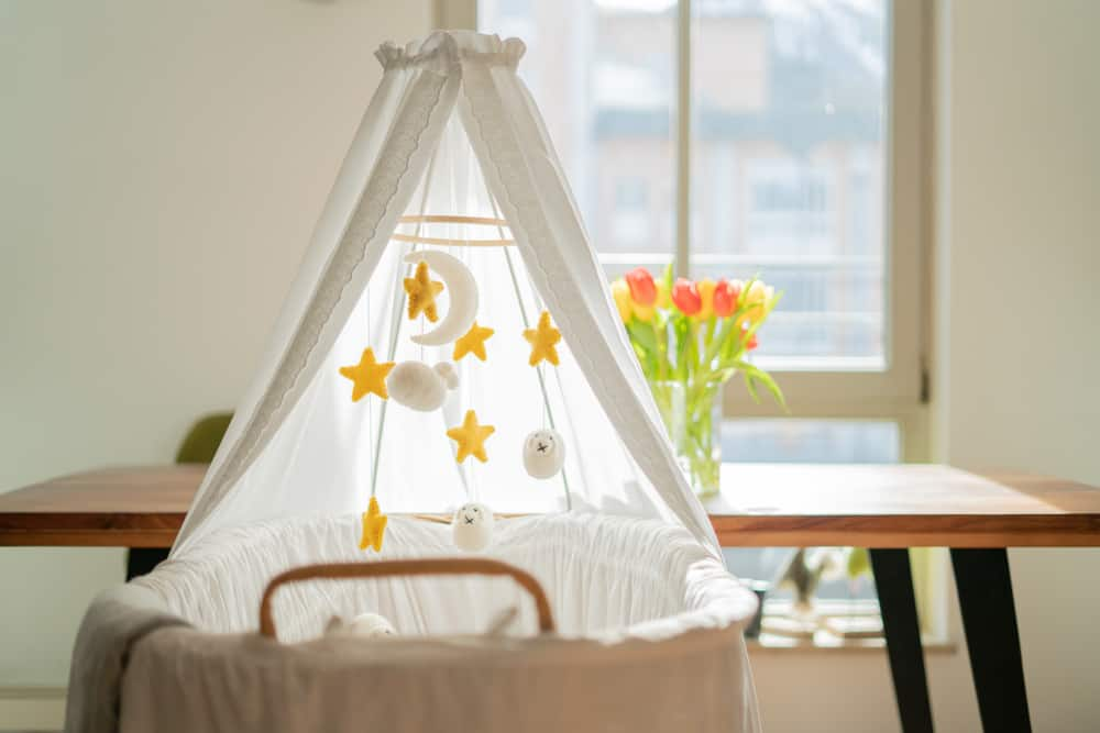 a baby bassinet with a canopy and mobile